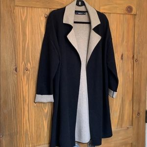 ZARA knit black/oatmeal 3/4 knit sweater jacket -M